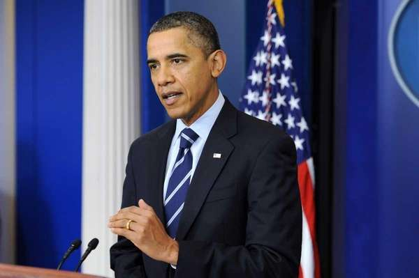 President Barack Obama delivers a statement at the