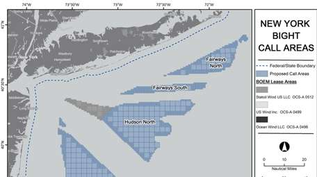 A federal map of proposed offshore wind areas.