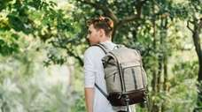 Moshi's Captus Rolltop backpack has many compartments and