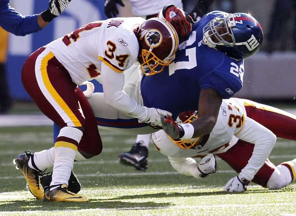 Byron Westbrook of the Washington Redskins takes down