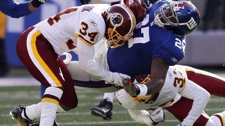Byron Westbrook of the Washington Redskins takes down