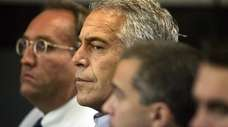 Jeffrey Epstein, center, appears in court in West