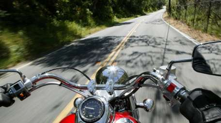 A view riding a motorcycle.