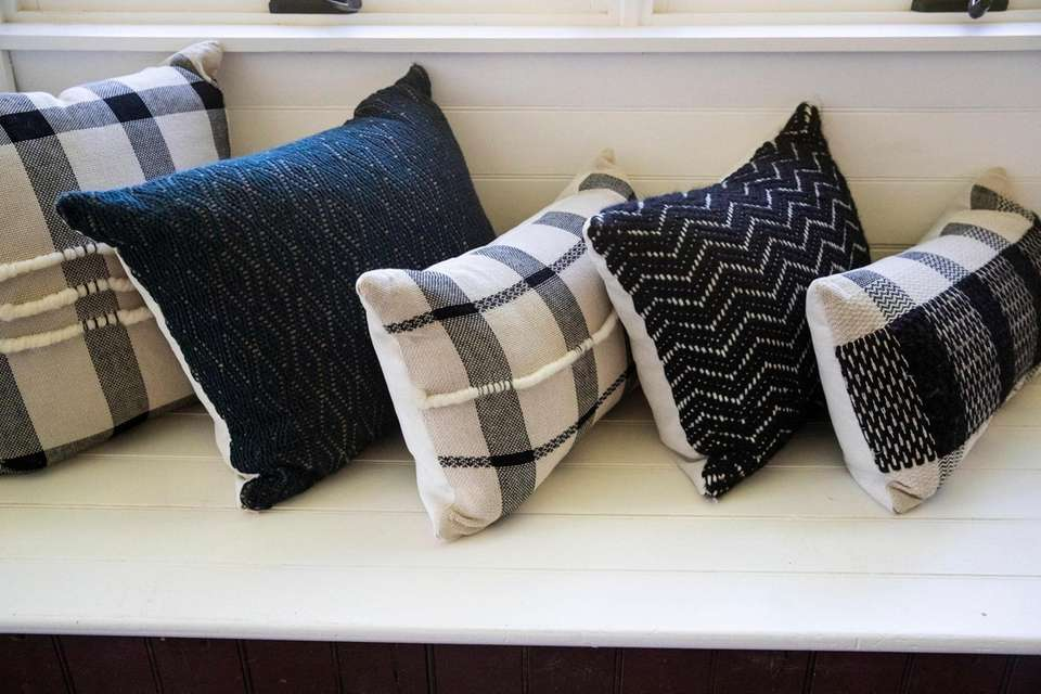 Handwoven wool pillows by Stephanie Pinerio at her
