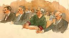 In this courtroom sketch, defendant Jeffrey Epstein, second