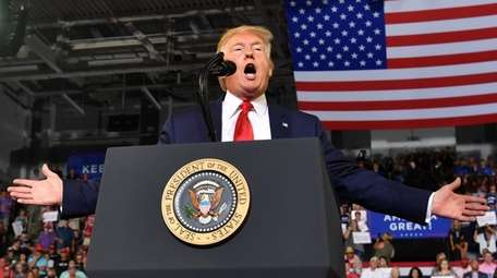 President Donald Trump at a rally Wednesday in