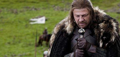 Sean Bean portraying Eddard Stark in a scene