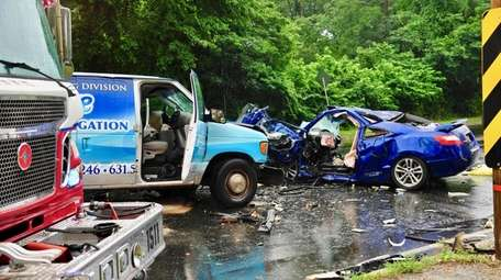 The scene of a two-vehicle crash on Thursday