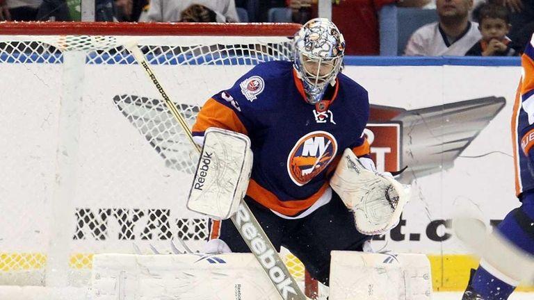 Al Montoya of the New York Islanders against