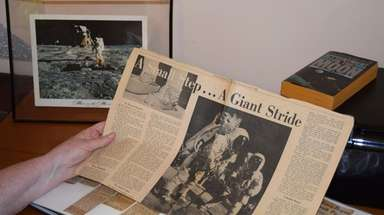 Newspaper clippings about the Apollo 11 moon landing