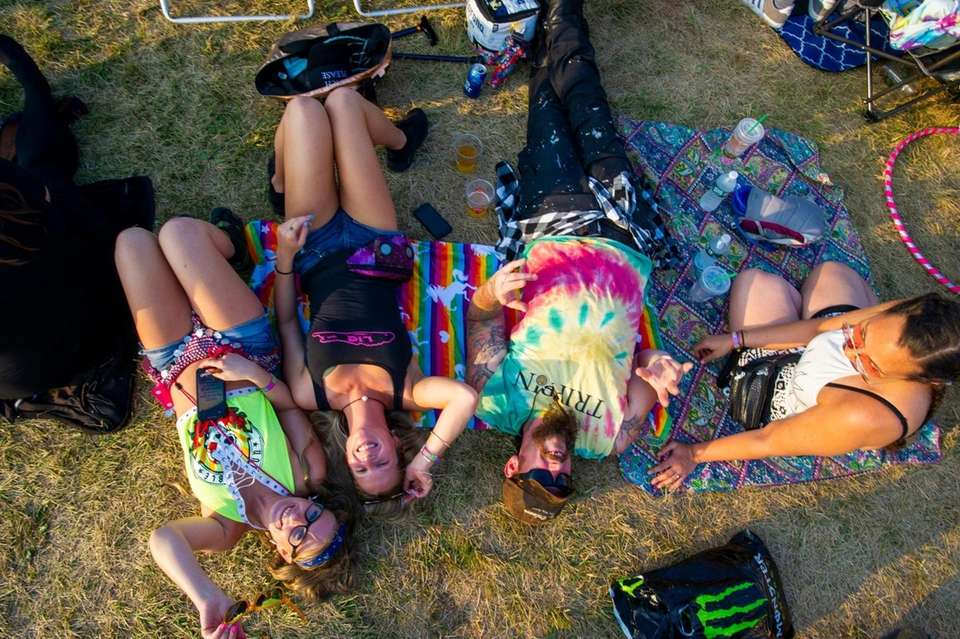 Concert goers relax at the Great South Bay