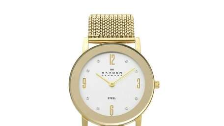 The stretch watch by Skagen comes in gold,