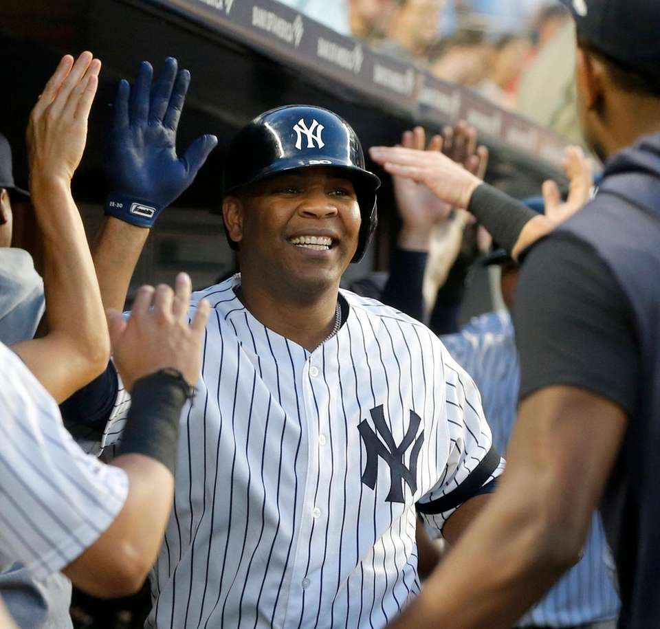 Edwin Encarnacion of the New York Yankees celebrates