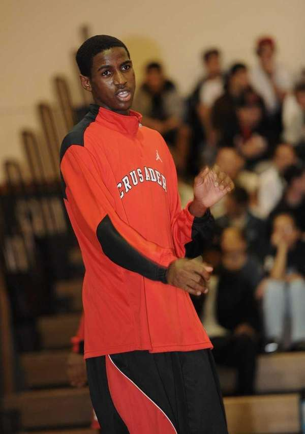 Kentan Facey of Long Island Lutheran warms up