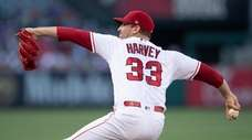 Los Angeles Angels starting pitcher Matt Harvey throws