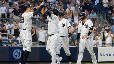 Edwin Encarnacion of the New York Yankees celebrates
