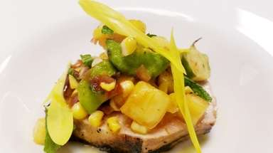 Chili and balsamic-glazed pork loin with summer succotash