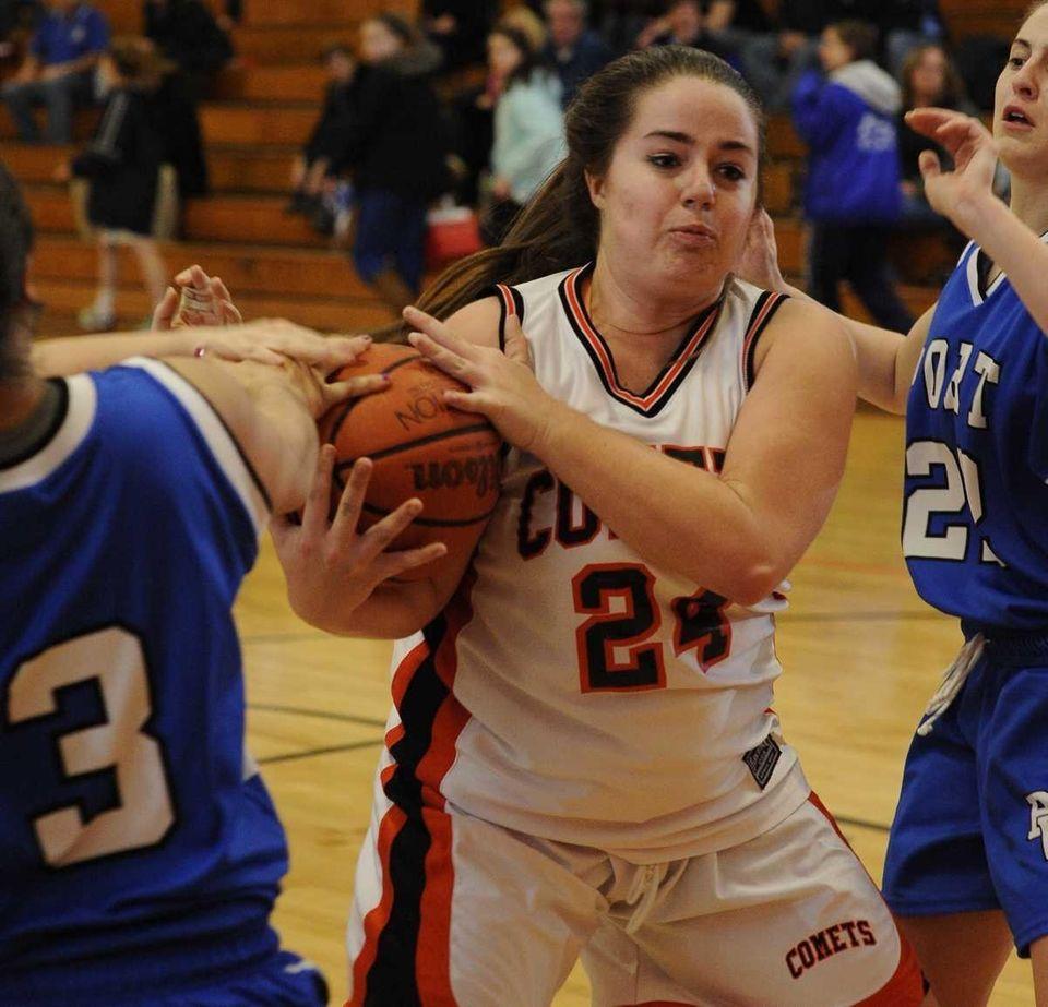 Hicksville's Leslie Jaffie battles for the ball against