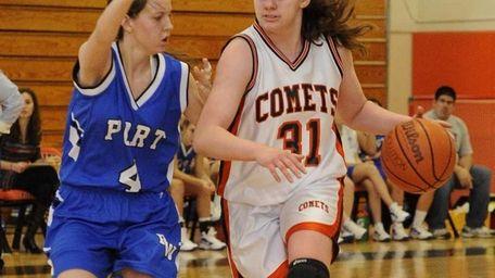 Hicksville's Caitlyn Garger moves the ball around Port