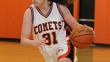 Hicksville's Caitlyn Garger drives the ball against Port