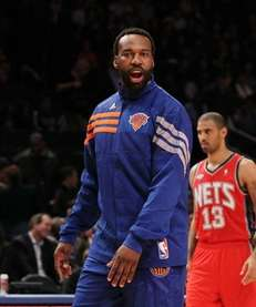 Injured Baron Davis of the New York Knicks
