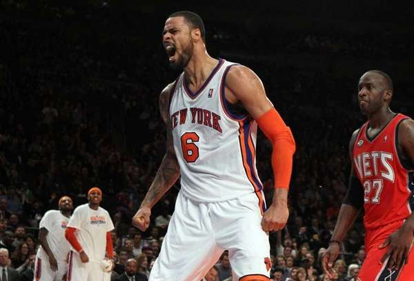 Tyson Chandler of the New York Knicks celebrates