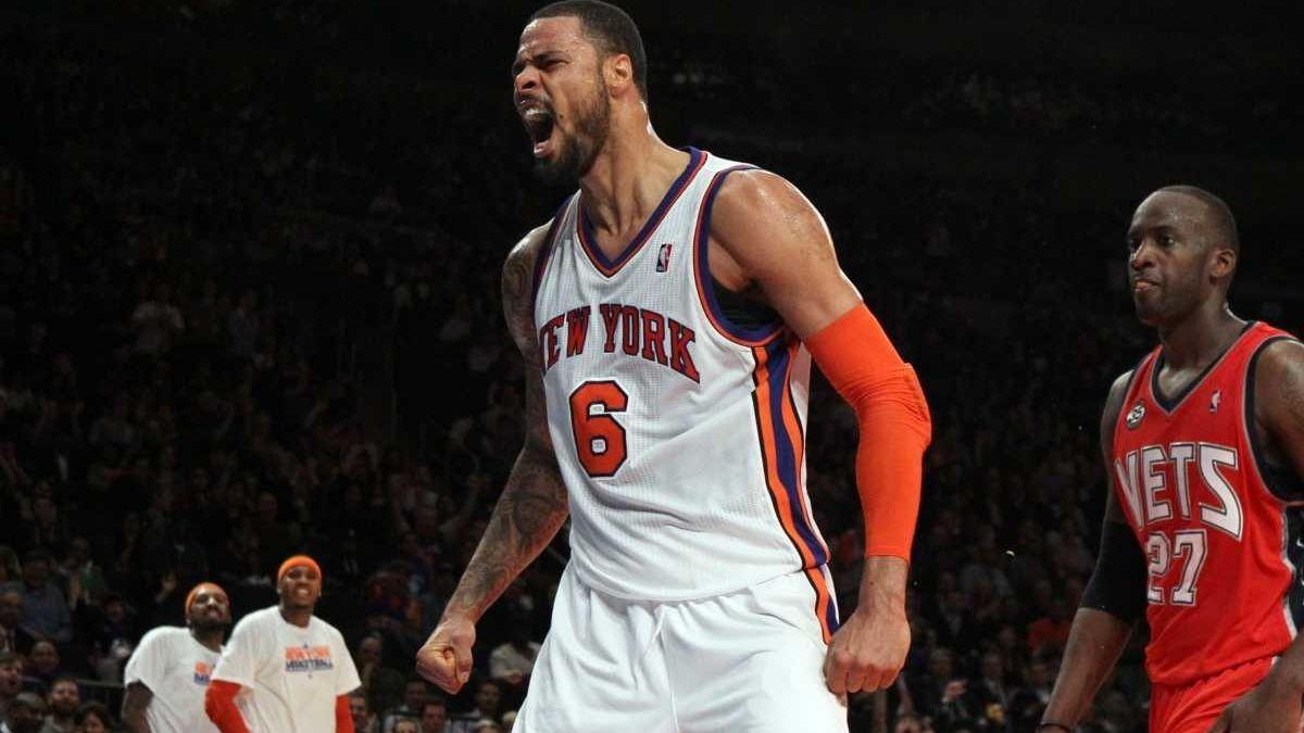 Tyson Chandler of the New York Knicks celebrates