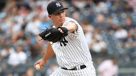New York Yankees opening pitcher Chad Green delivers