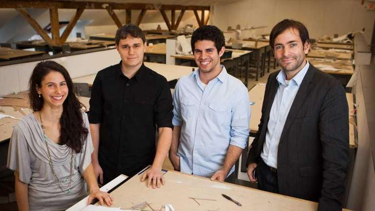 Students, from left, Crystal Eksi, Dimitrios Malliakas and