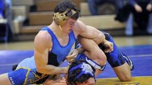 Nick Mauriello of Hauppauge HS gets position on