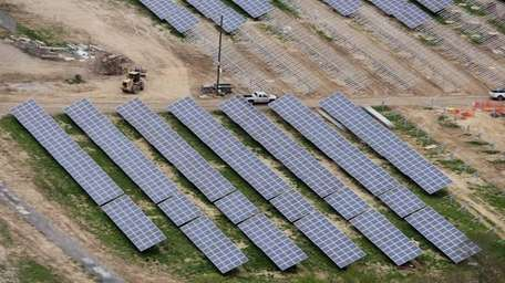 An aerial view of panels on the new