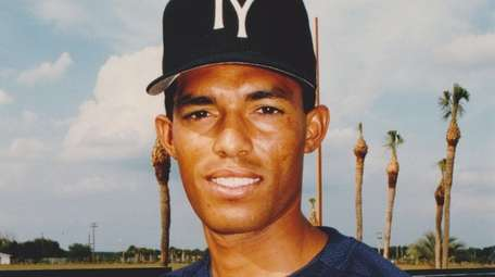 Tampa Yankees pitcher Mariano Rivera poses for a
