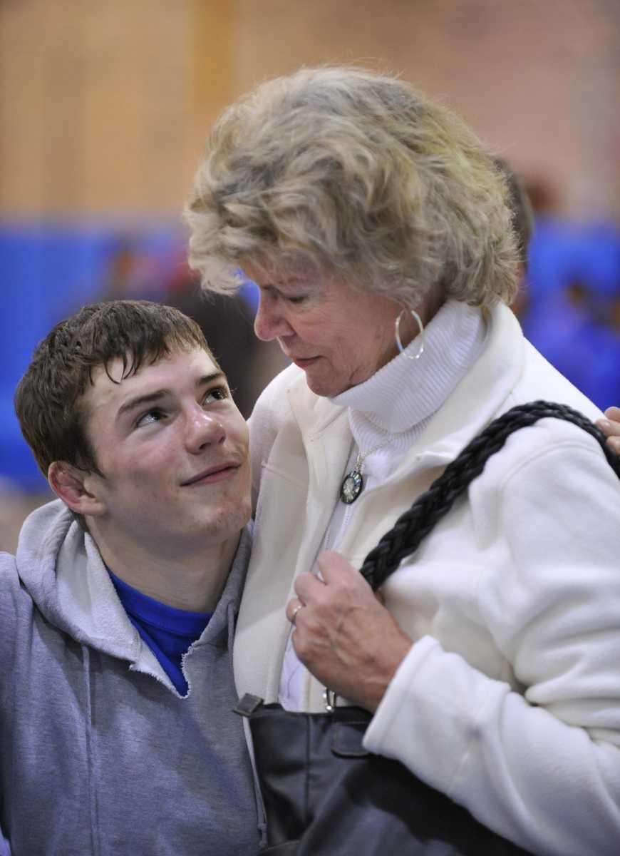 Nick Mauriello looks up at his grandmother, Gail