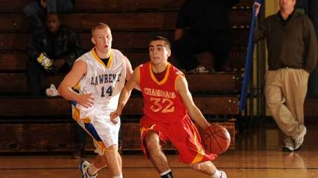 Lawrence's #14 Eddie Robinson, left, guards Chaminade's #42