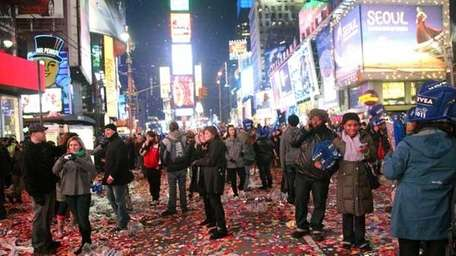 Time Square on New Year's Day. (GETTY)