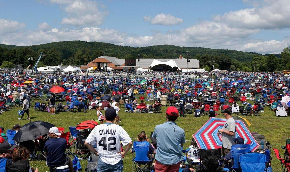 Fans wait for the start of the Baseball