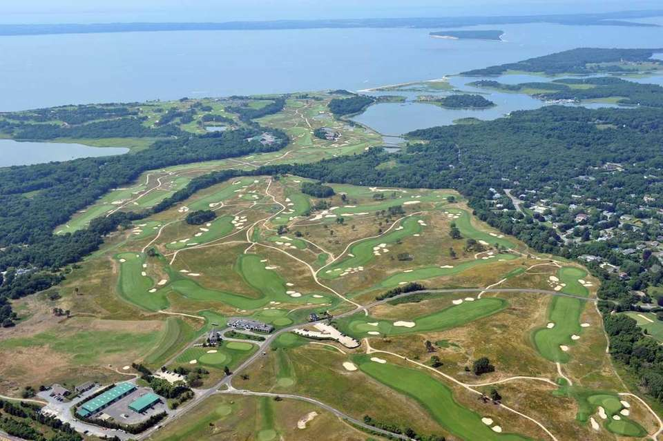 An aerial view of Shinnecock Hills Golf Club,