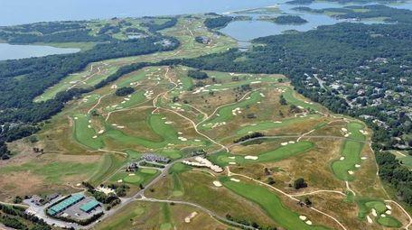 An aerial view of Shinnecock Hills Golf Club,