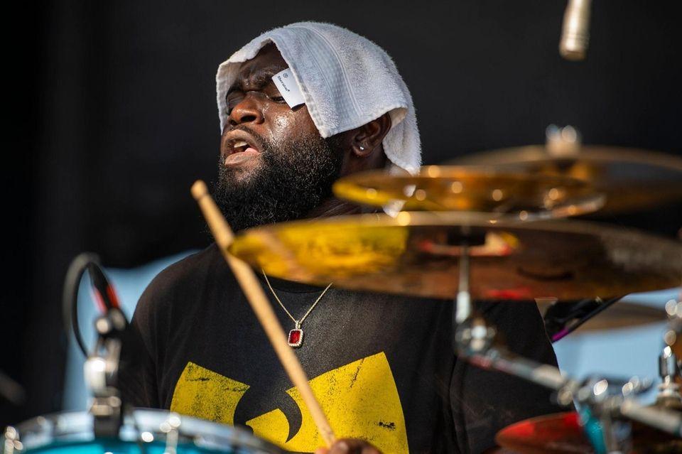 "Drummer Kendall Everett performs with Brandon ""Taz"" Niederauer"