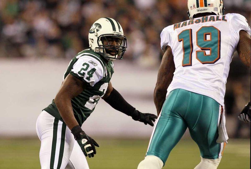 Darrelle Revis of the Jets defends against Brandon