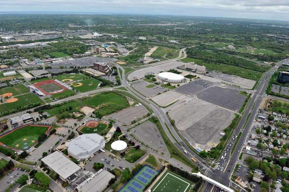 An aerial view of the Nassau Coliseum/Mitchel Field