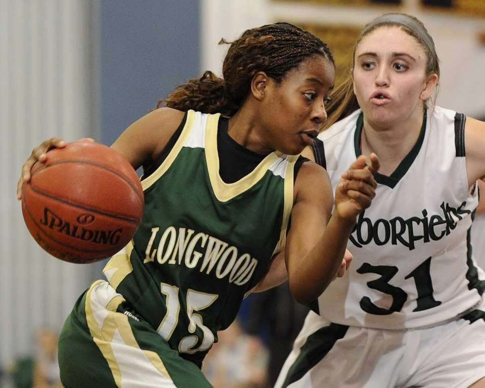 Longwood's guard Makeda DeSouza drives the ball around