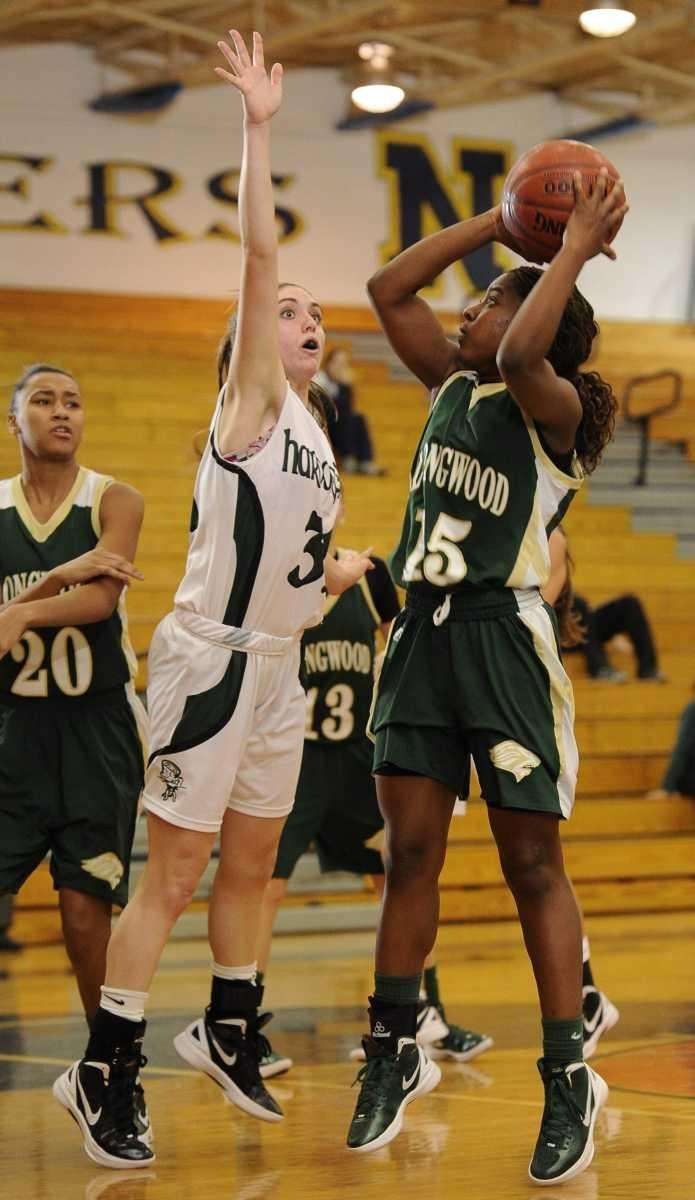 Longwood's guard Makeda DeSouza looks to shoot guarded