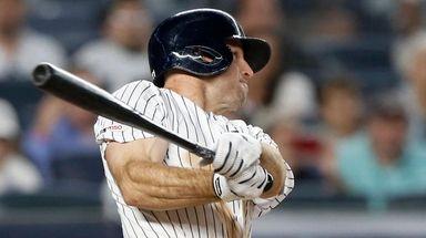 Yankees outfielder Brett Gardner bats during the eighth