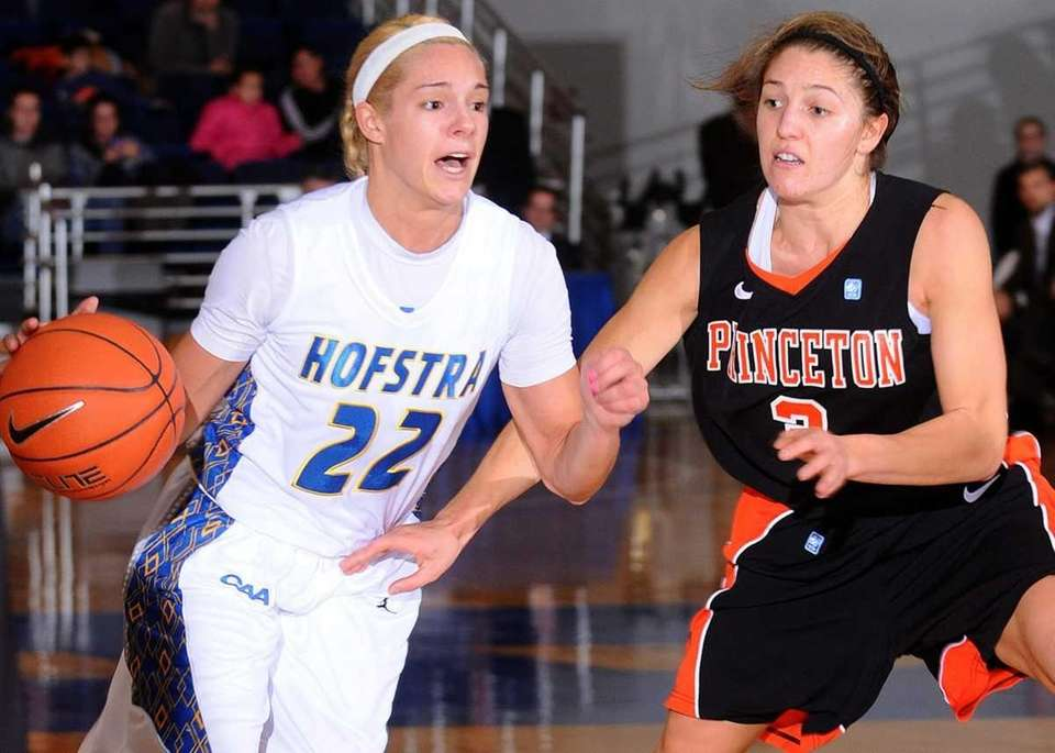 Hofstra University #22 Nicole Capurso, left, tries to