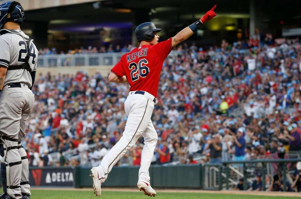 The Twins' Max Kepler celebrates his solo home