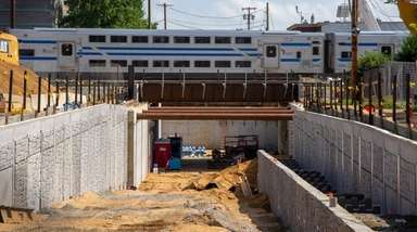 The LIRR crossing under construction on Urban Avenue