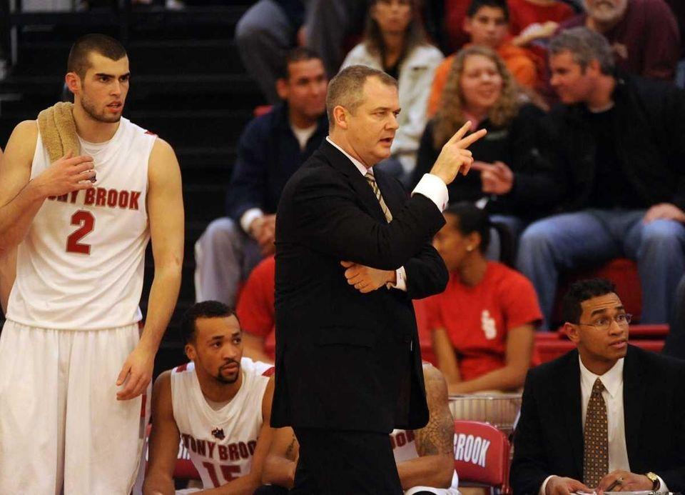 Stony Brook head coach Steve Pikiell is shown