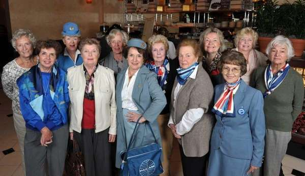 Former Pan Am stewardesses meeting for lunch are,