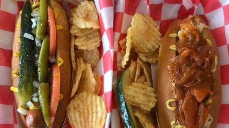 A Chicago-style dog, left, and a Duke's New